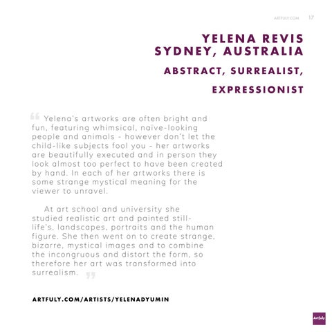 Page 17 of Successful Sydney artist Yelena Revis describes her inspirations and techniques