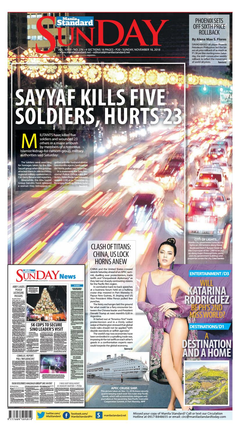 b54ffe417c2e Manila Standard - 2018 November 18 - Sunday by Manila Standard - issuu