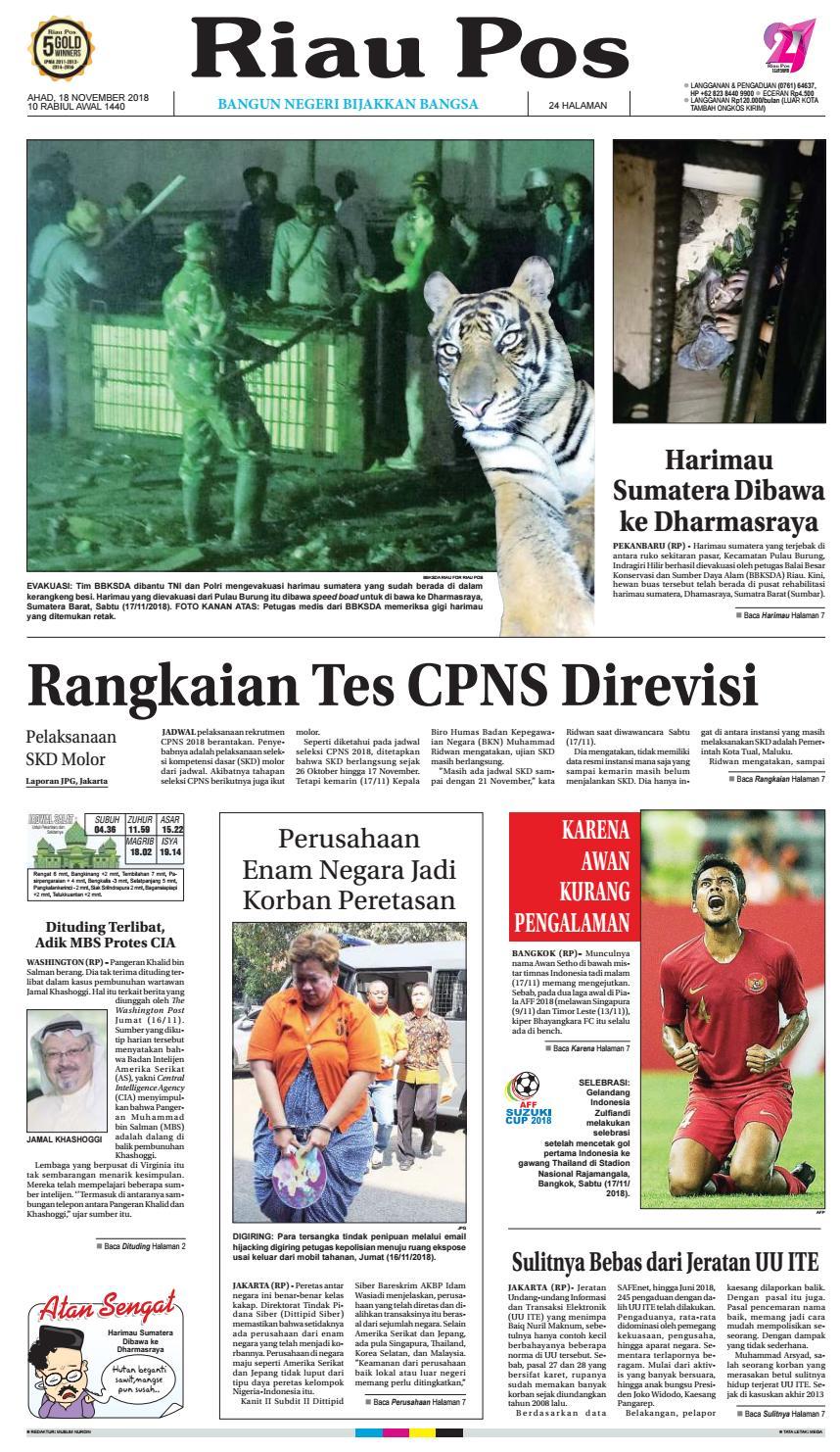 Riau Pos Edisi Minggu 18 November 2018 By Riau Pos Issuu