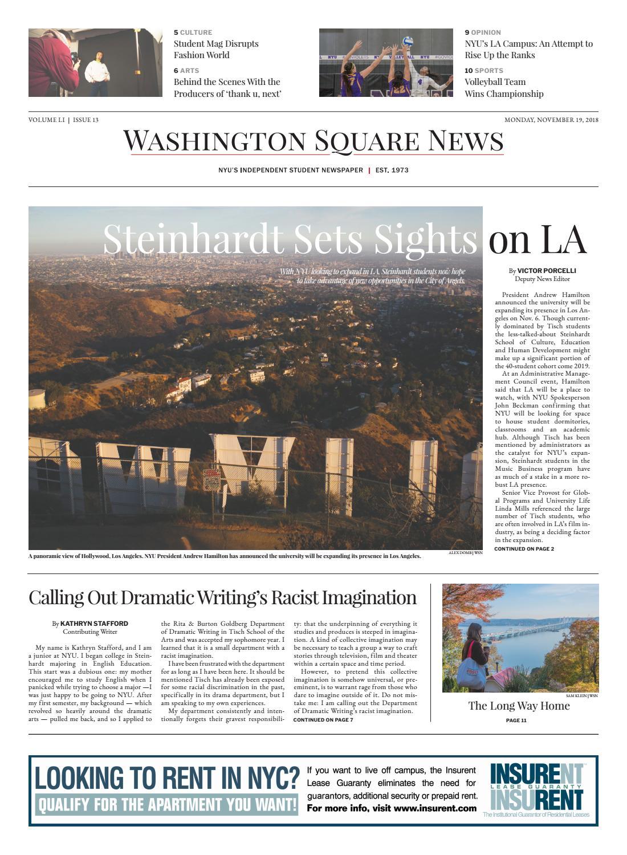 Washington Square News November 19, 2018 by Washington