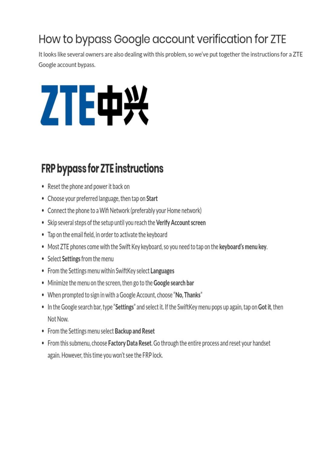 How To Bypass Google Account Verification On Zte Easy Way To