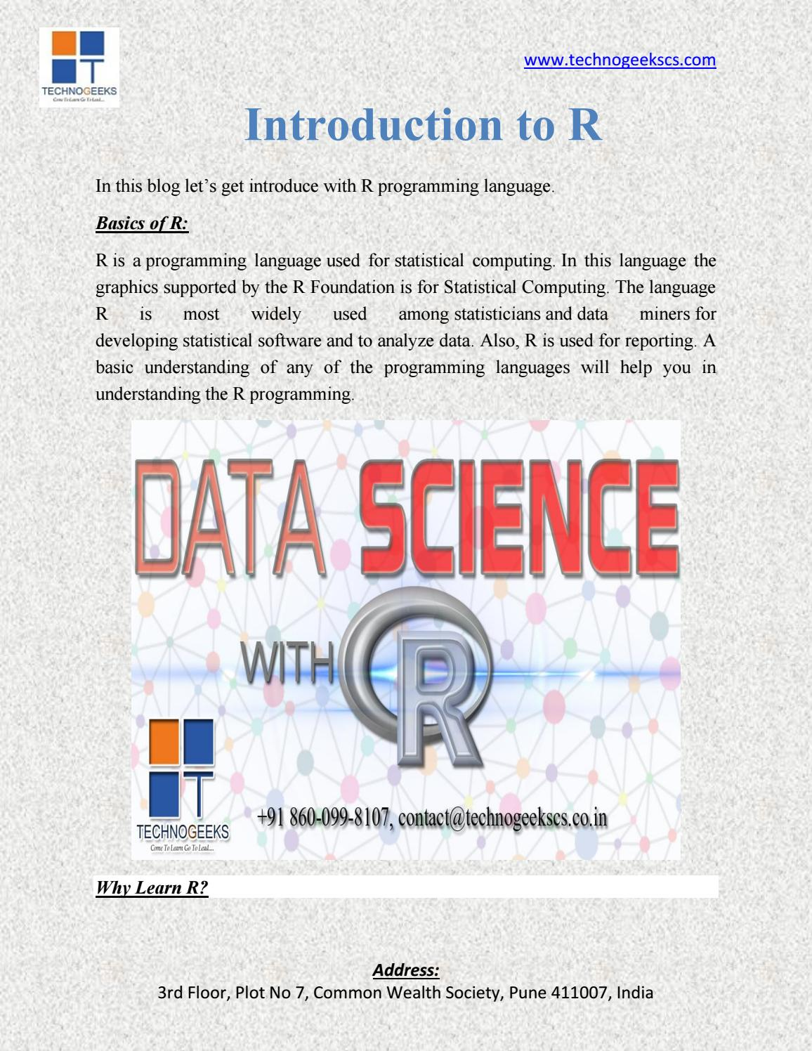 Introduction to R by technogeeks - issuu