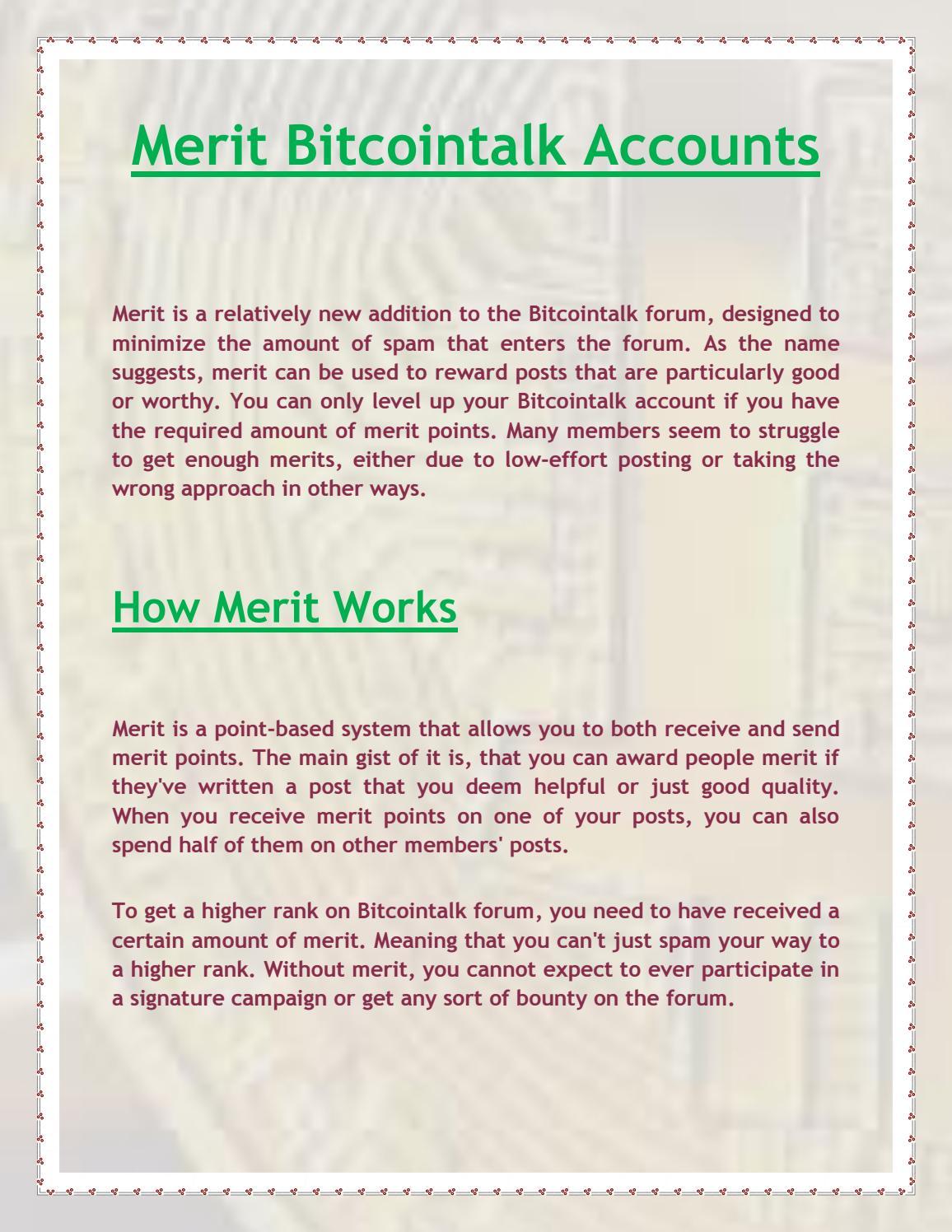 merit system bitcointalk)