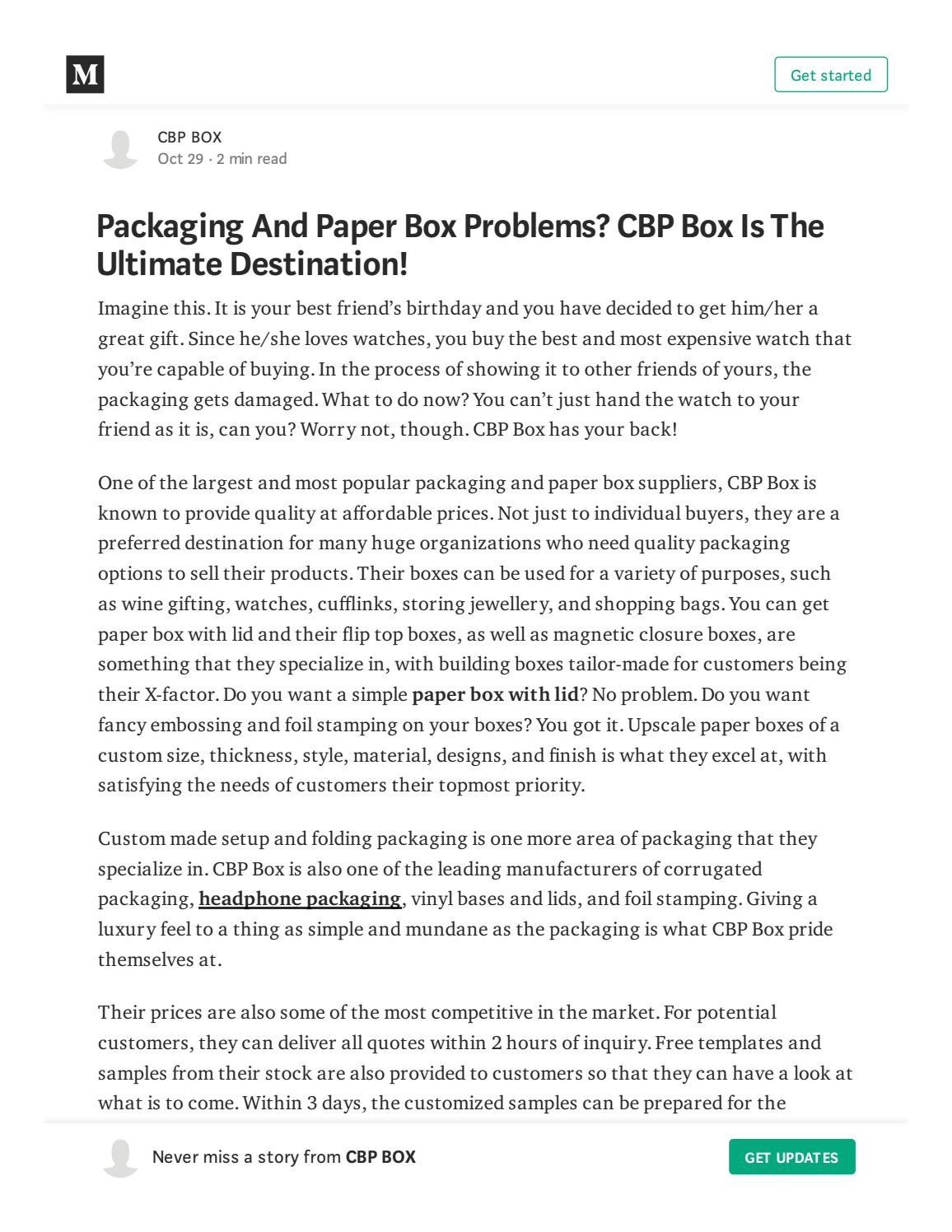 Packaging And Paper Box Problems? CBP Box Is The Ultimate
