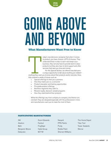Page 21 of Going Above and Beyond: What Manufacturers Want Pros to Know