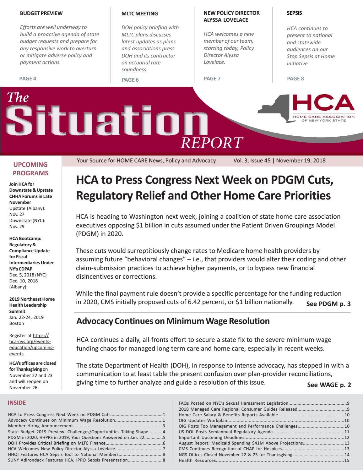 November 19, 2018 Edition of The Situation Report by Home
