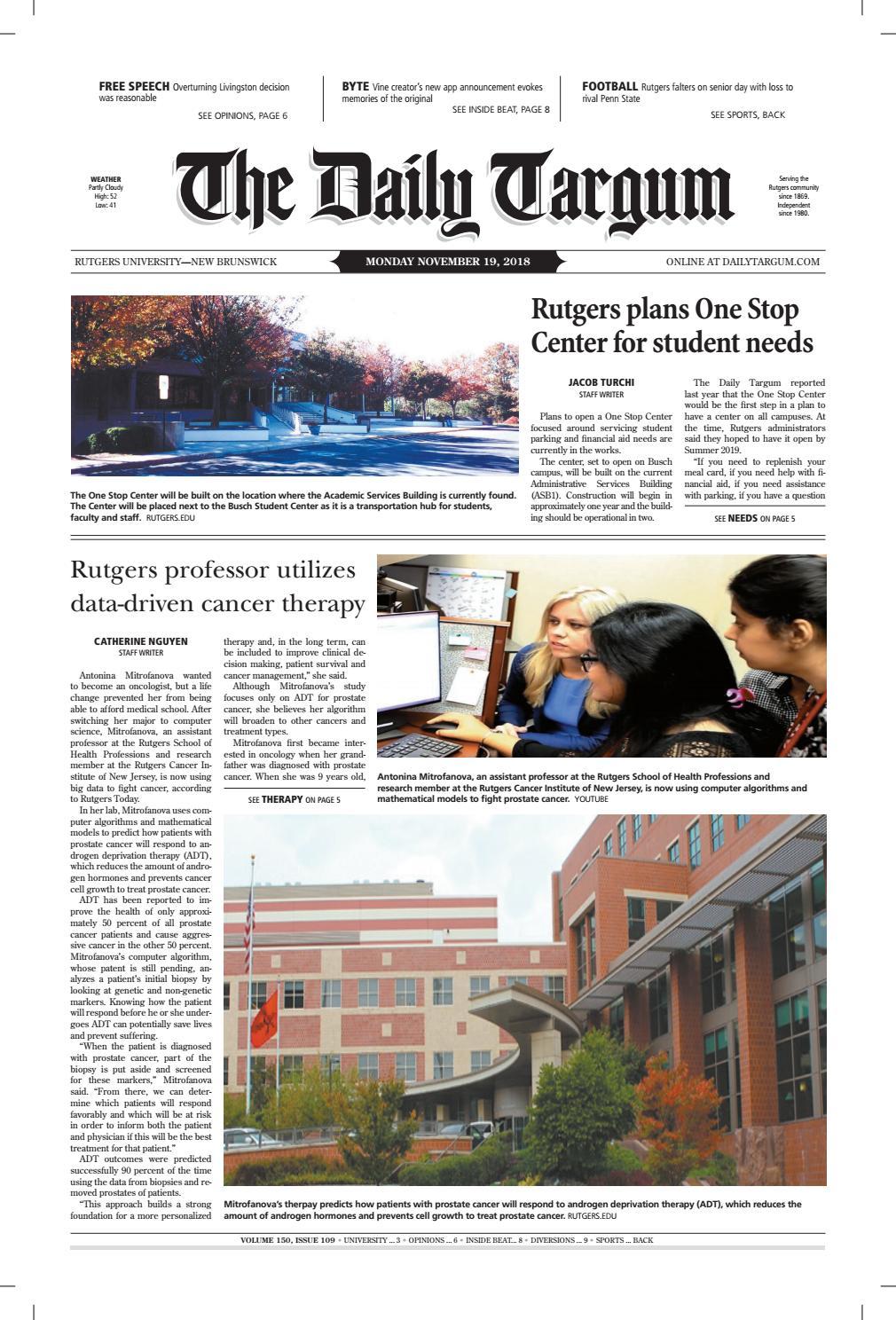 official photos 69b88 2a222 The Daily Targum 11.19.18
