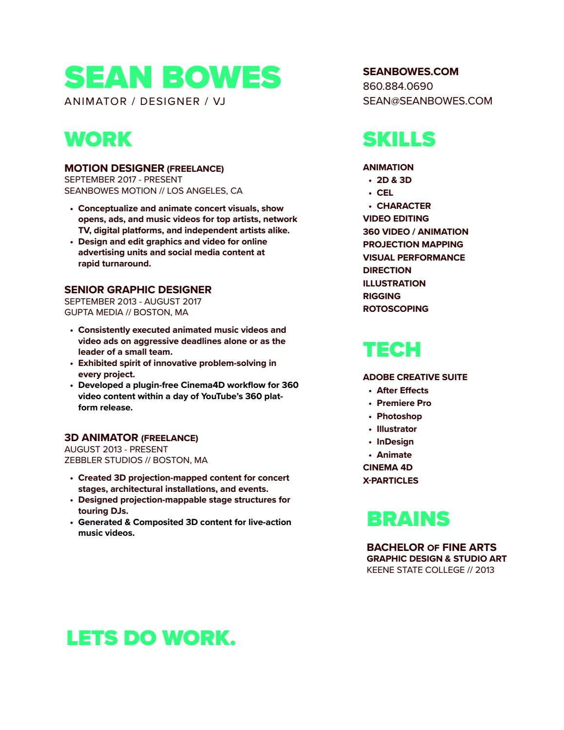 Sean Bowes Resume by seanbowes - issuu