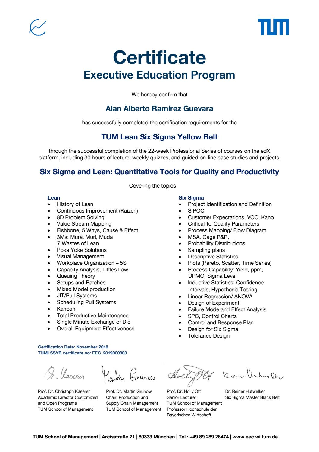 Tum Lean Six Sigma Yellow Belt By Alan Alberto Ram U00edrez Guevara