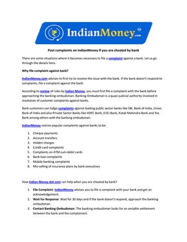 Post complaints on IndianMoney if you are cheated by bank by