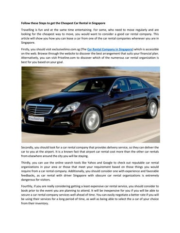 Cheapest Car To Lease >> Cheapest Car Lease Singapore By Exclusive Limo Issuu