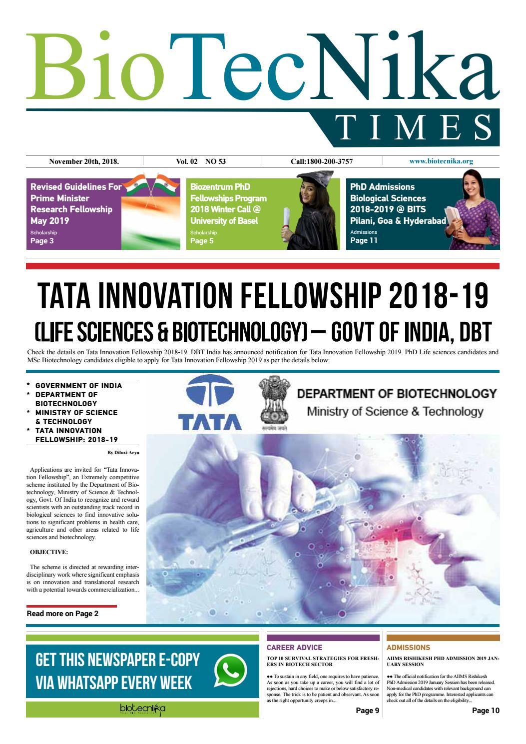 Biotecnika Times - Newspaper dated 20th November 2018 by