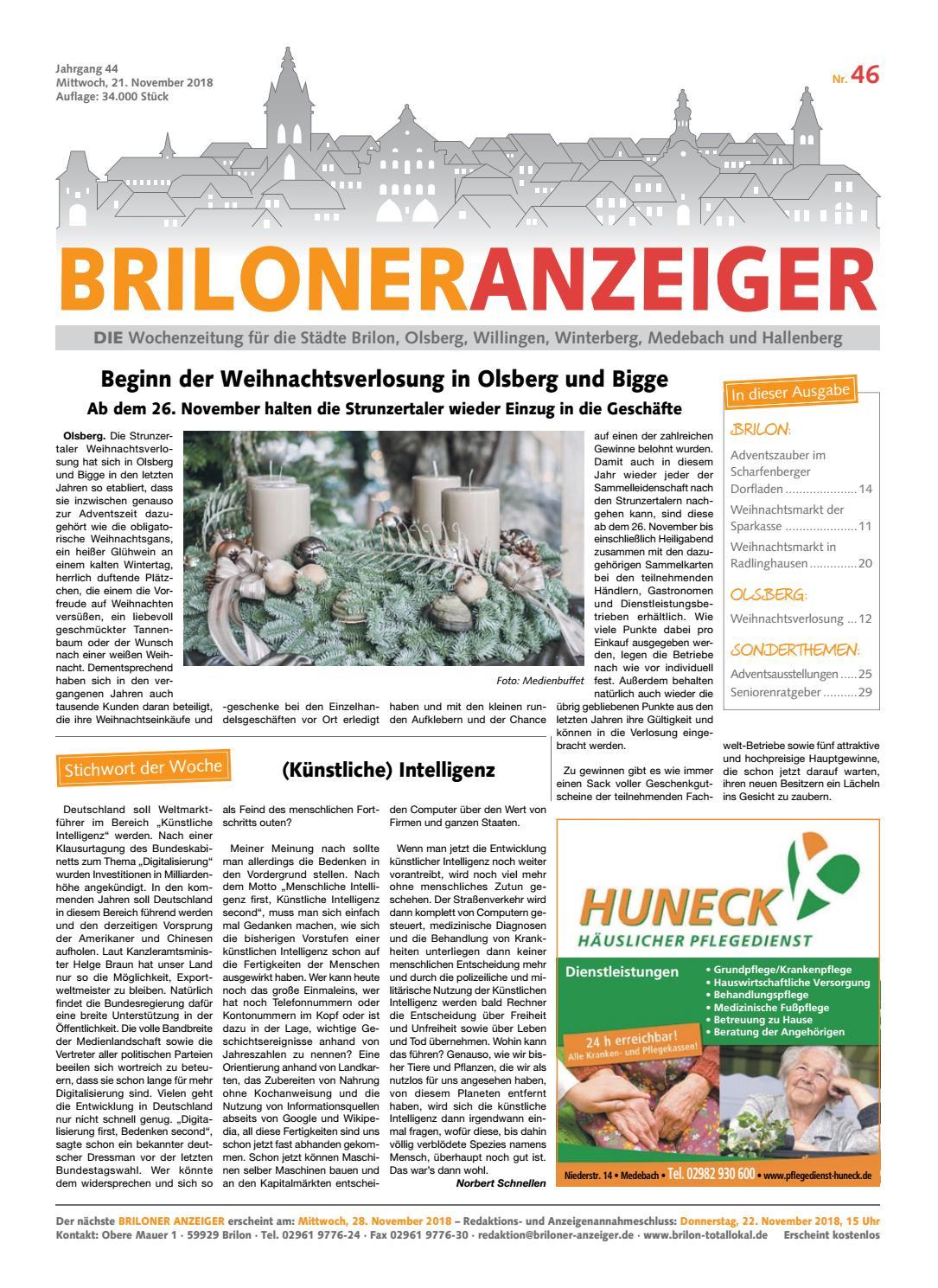 da9ee0020e173a Briloner Anzeiger Ausgabe vom 21.11.2018 Nr. 46 by Brilon-totallokal - issuu