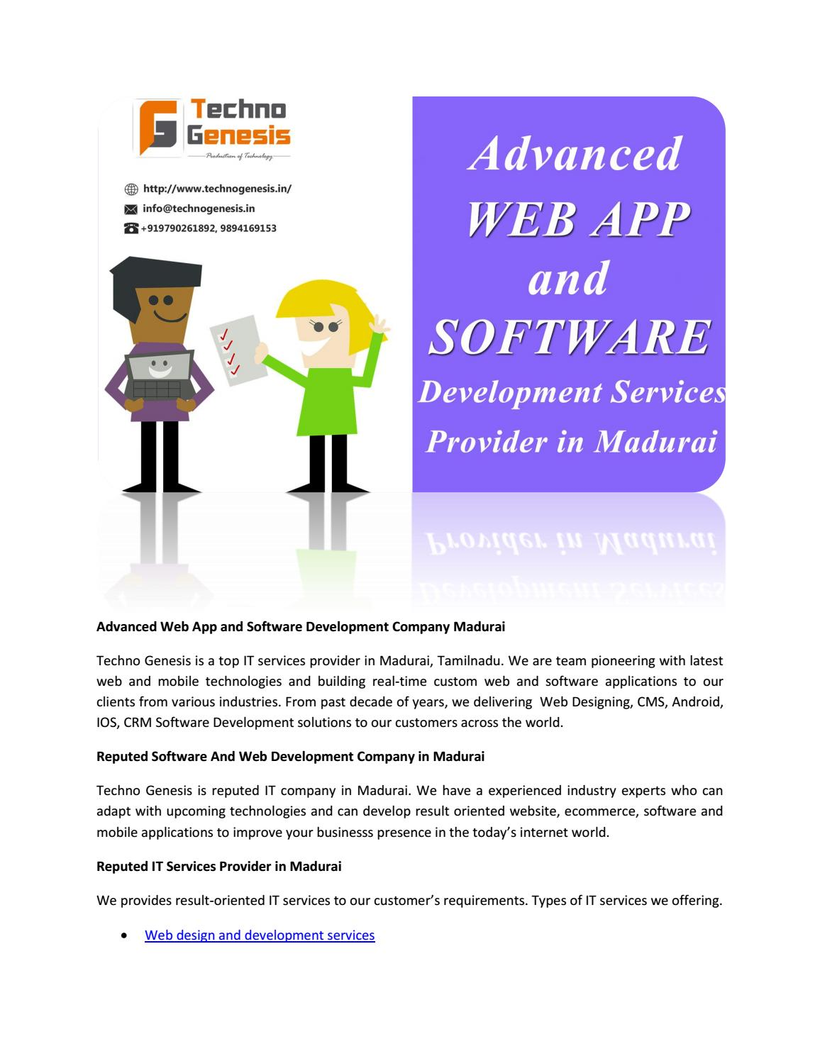 Advanced Web App And Software Development Company Madurai By Techno Genesis Software Solutions Issuu