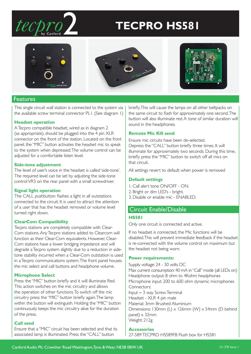 02-398 TECPRO HS581 by Canford Audio - issuu