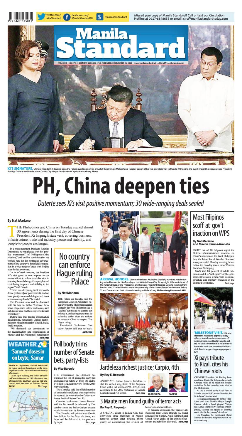 0709c53be8 Manila Standard - 2018 November 21 - Wednesday by Manila Standard - issuu