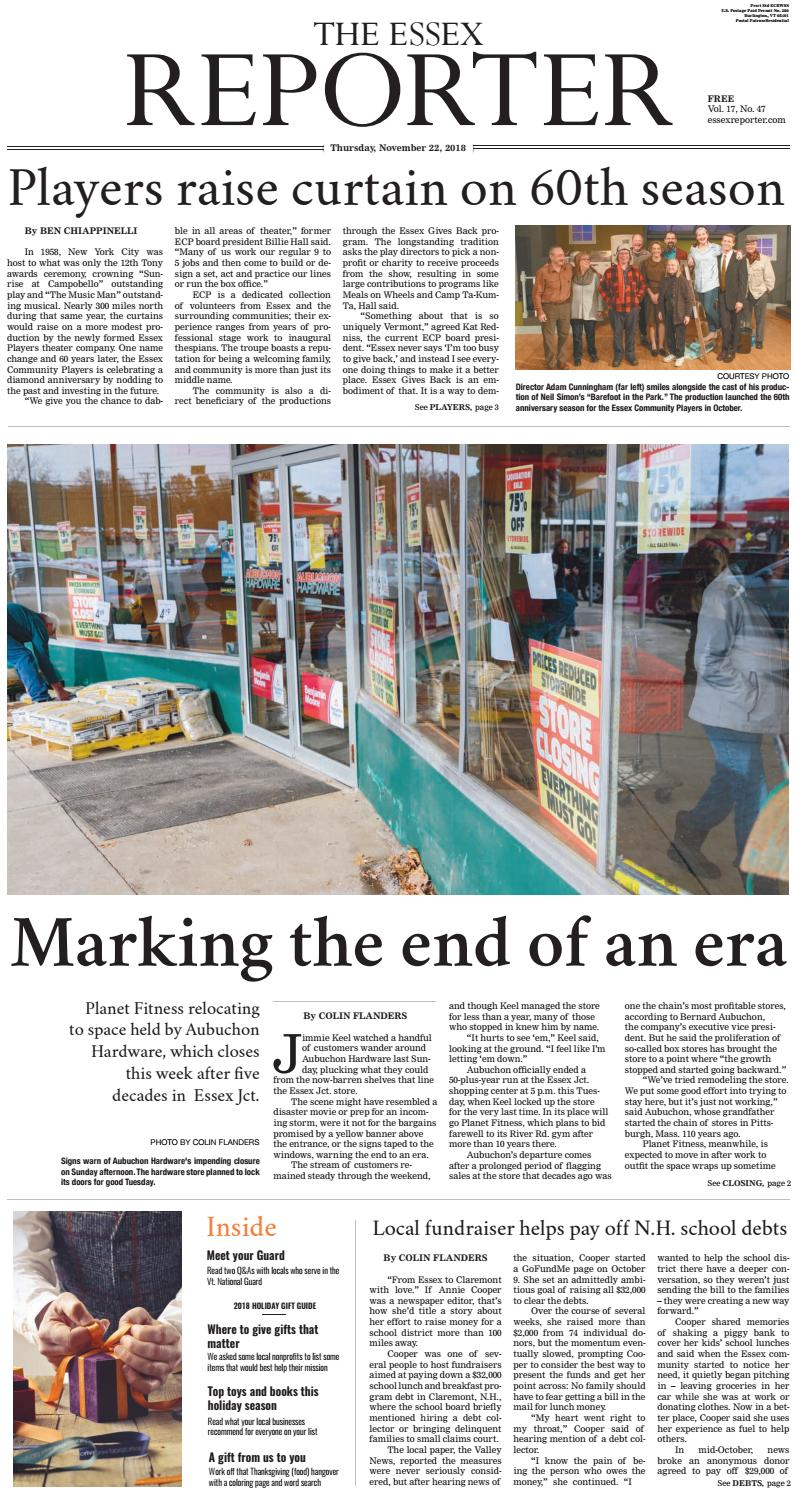 The Essex Reporter: November 22, 2018 by Essex Reporter - issuu