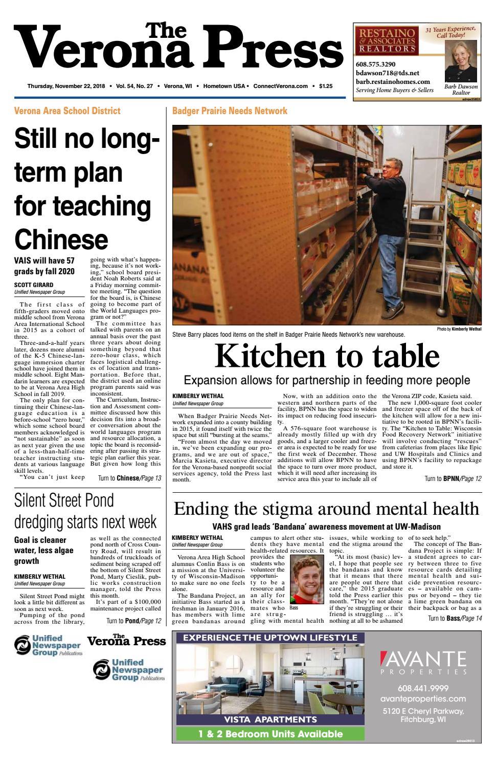 11/22/18 Verona Press by Woodward Community Media - issuu
