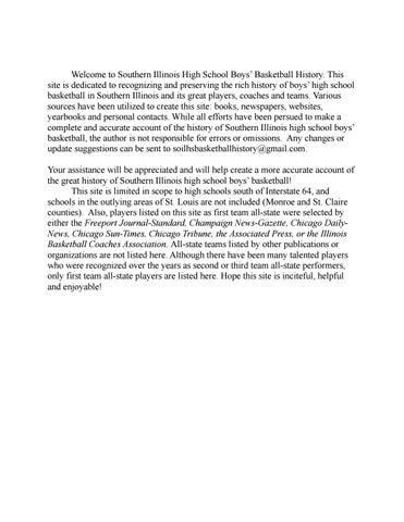 Southern Illinois High School Boys' Basketball History by So