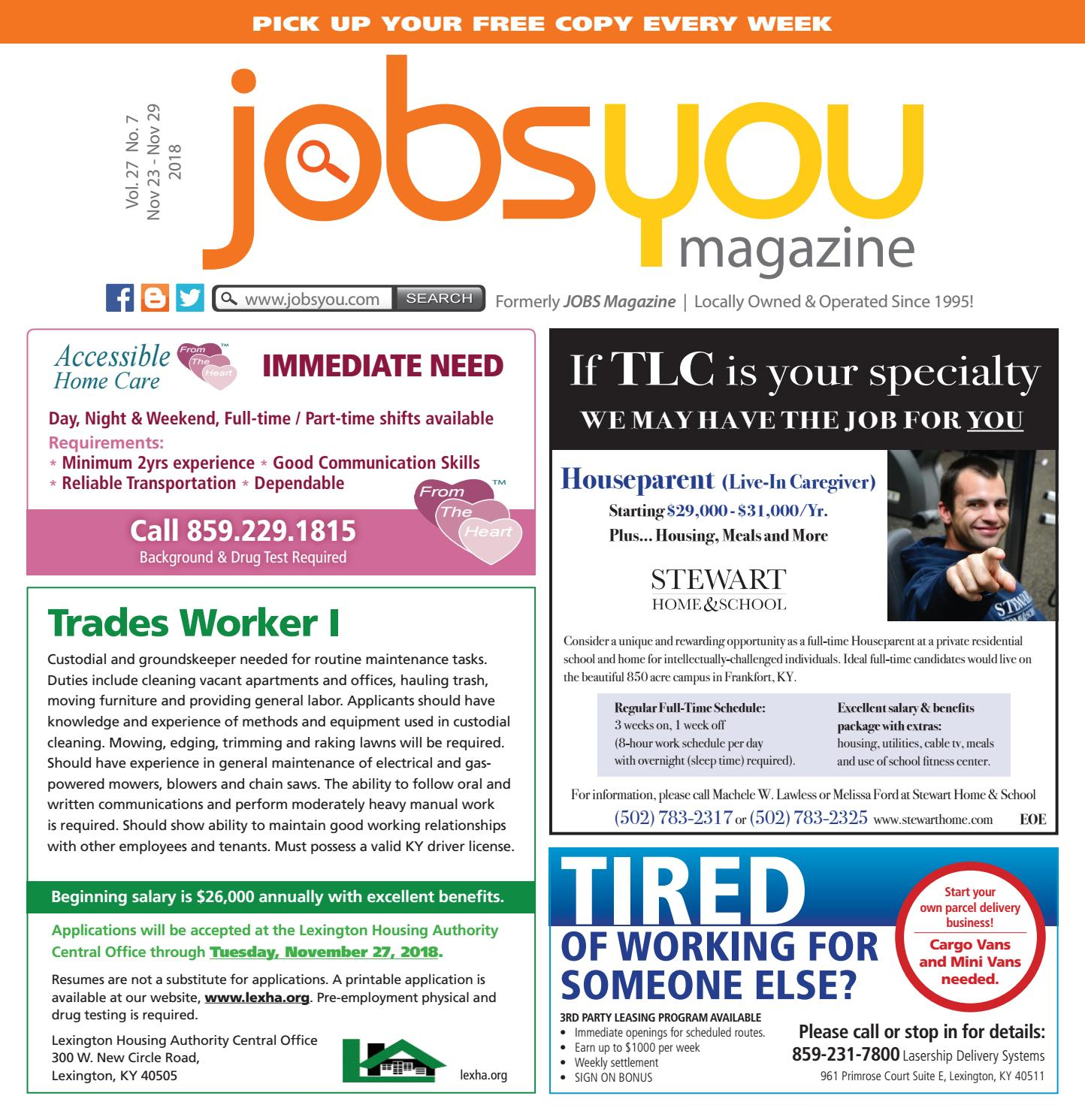 JobsYou November 23 – 29, 2018 by Sampler Publications - issuu
