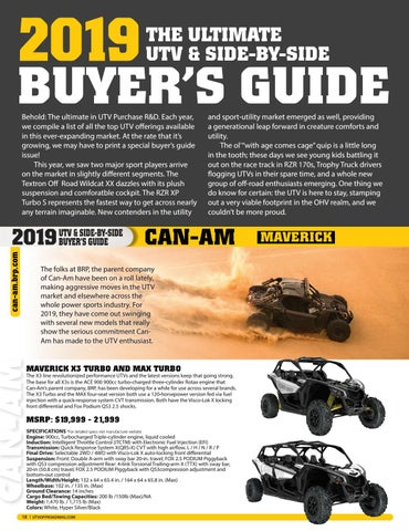 Page 16 of 2019 UTV Buyer's Guide