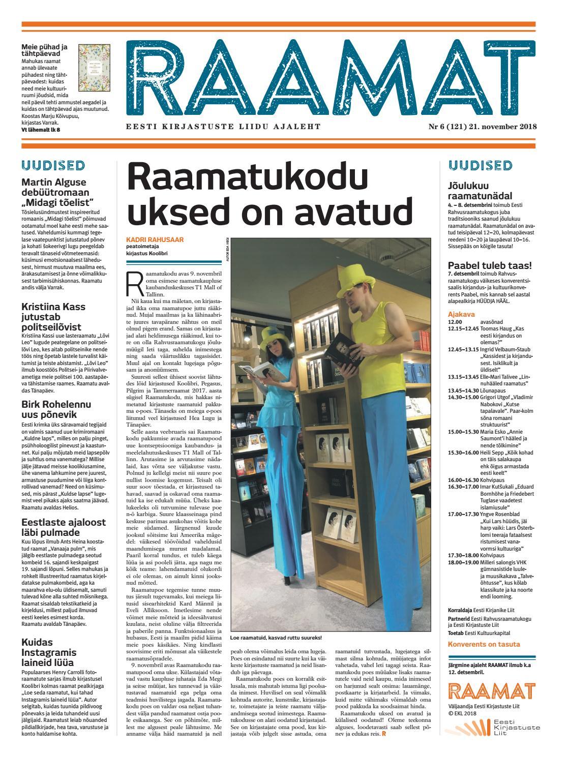 f6f678d13ad Ajaleht RAAMAT nr 121 (november 2018) by Kaidi Urmet - issuu