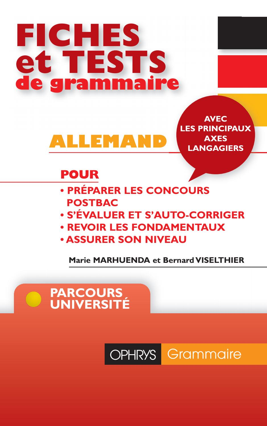 Fiches Et Tests De Grammaire Allemand B Viselthier M Marhuenda Editions Ophrys By To Groupe Issuu