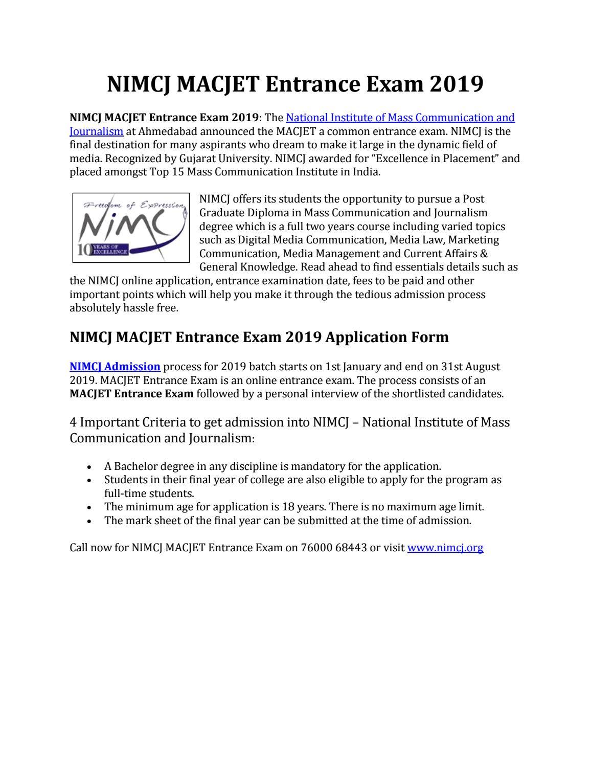 NIMCJ MACJET Entrance Exam 2019 by NIMCJ - issuu