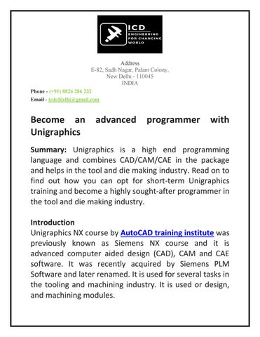 Become an advanced programmer with Unigraphics by mishraji645 - issuu