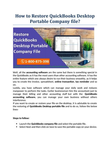 How to Restore QuickBooks Desktop Portable Company file? by