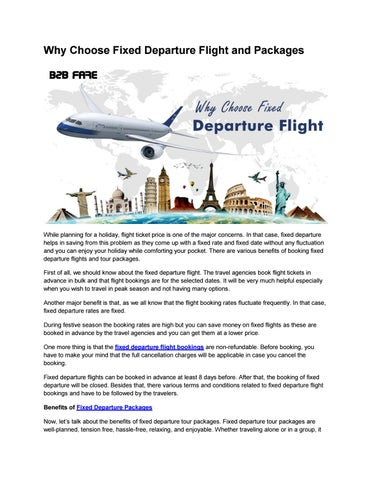 Why Choose Fixed Departure Flight and Packages by B2B Fare