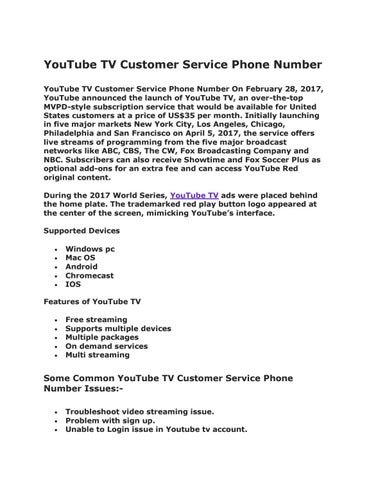 YouTube Tv customer service number by 1800CSN - issuu