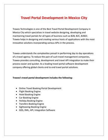 Travel Portal Development in Mexico City by Liam Scott - issuu