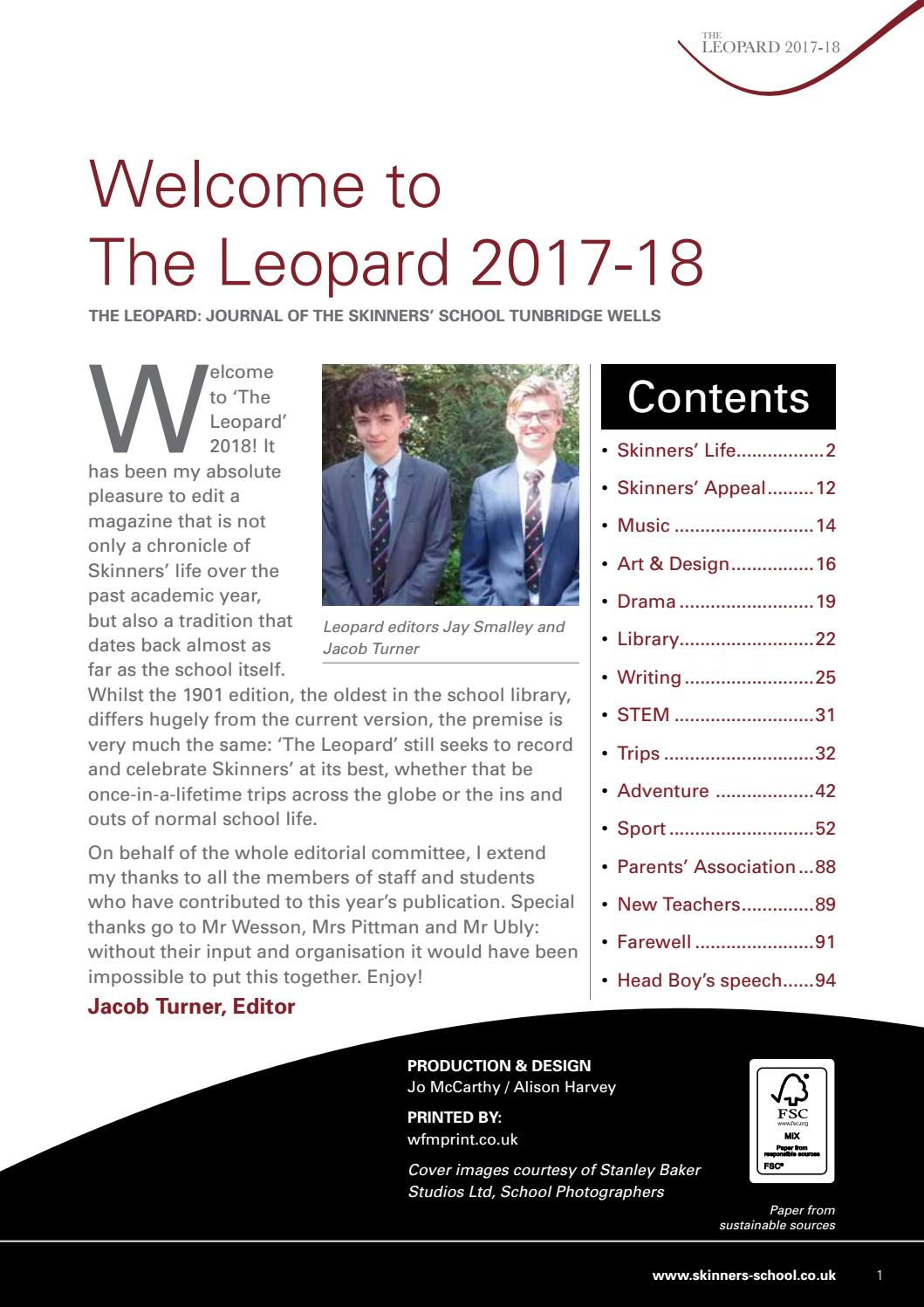 The Leopard 2018 By Skinners School Issuu