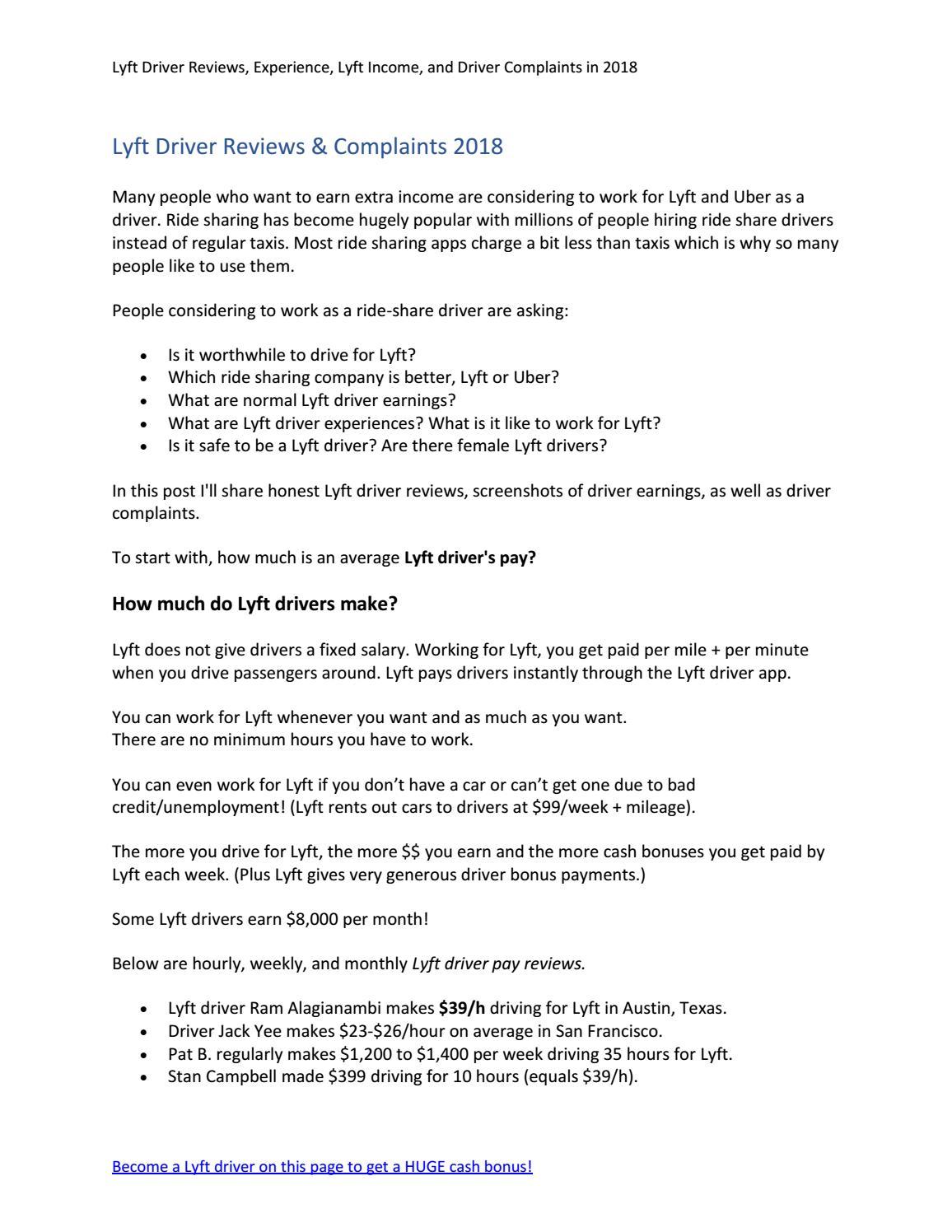 Lyft Driver Reviews & Complaints 2018 - Truth about Being a Lyft