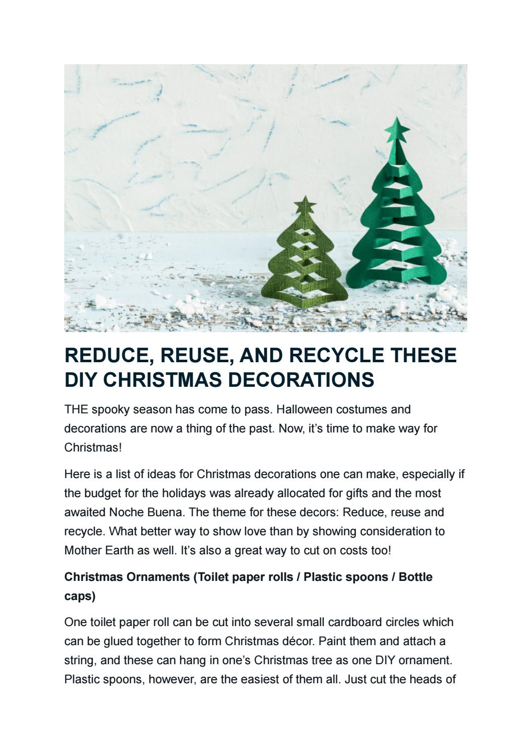 Reduce Reuse And Recycle These Diy Christmas Decorations