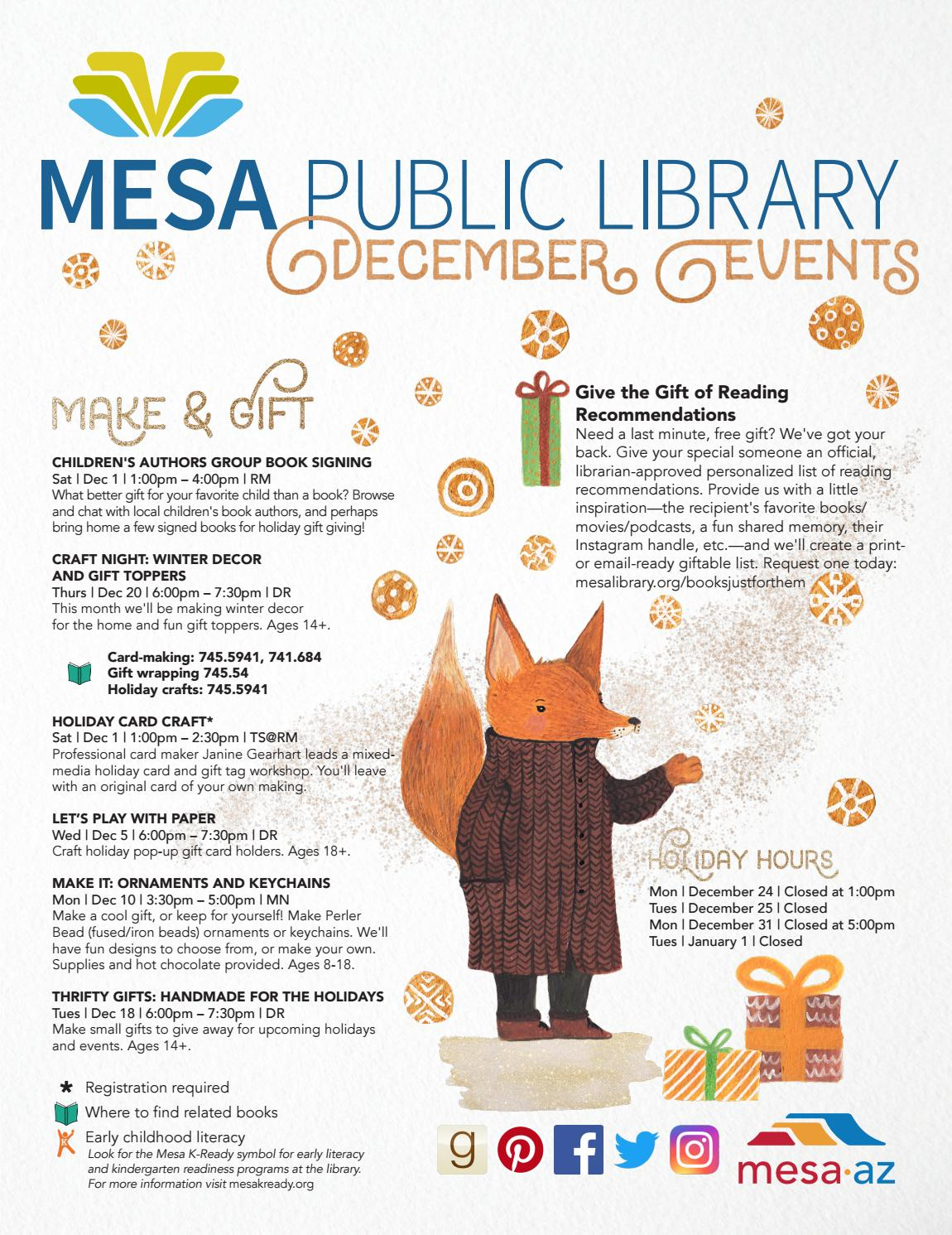 Mesa Public Library December 2018 Newsletter by CityofMesa