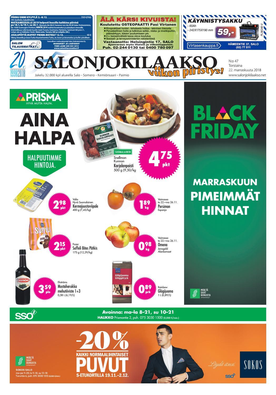 Salonjokilaakso vko 47 2018 by Salonjokilaakso lehti - issuu 78b8ca62ec