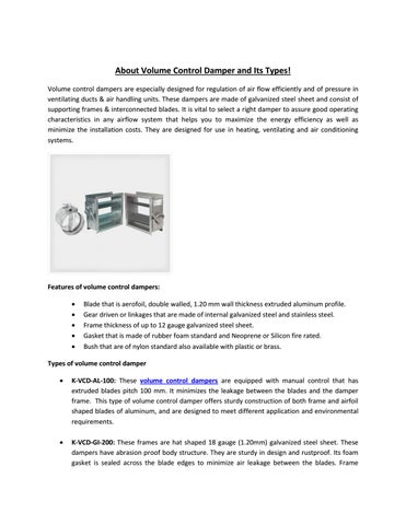 About Volume Control Damper and Its Types! by KAD Air Conditioning