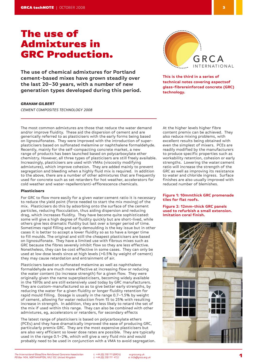 GRCA techNOTE 03 Use of Admixtures in GRC Production by