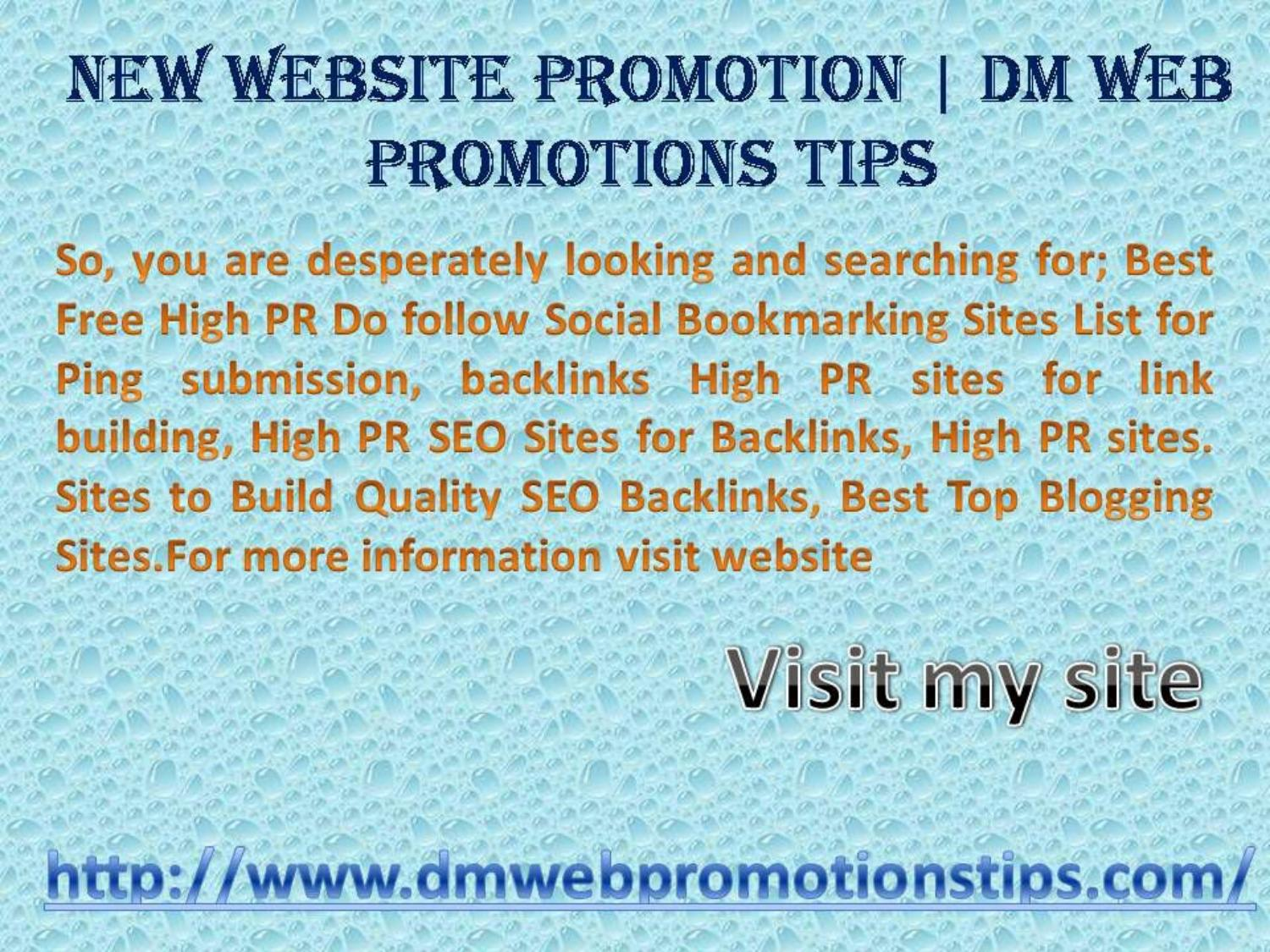New Website Promotion | DM Web Promotions Tips by Sumit