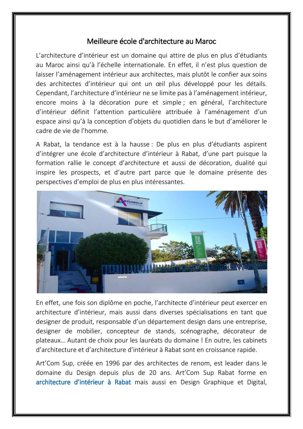 Ecole D Architecture D Interieur Nice meilleure école d'architecture au marocecoleartcom - issuu