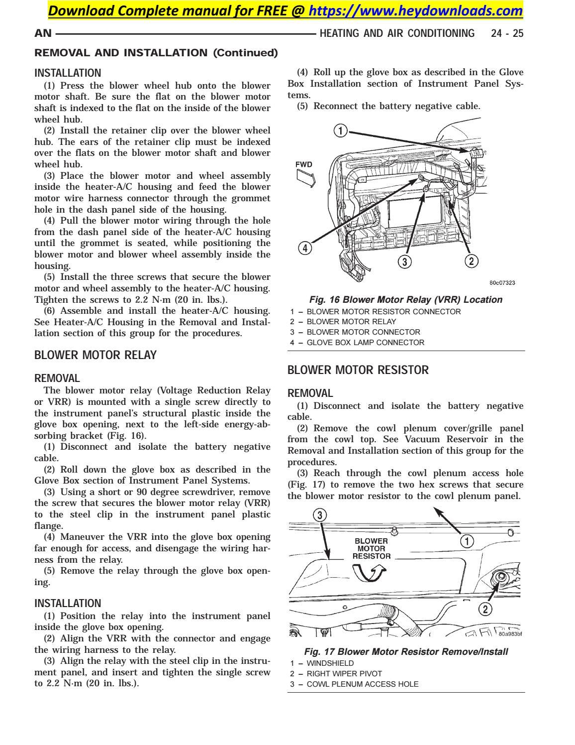 2002 Dodge Dakota Blower Motor Resistor Wiring Harness from image.isu.pub