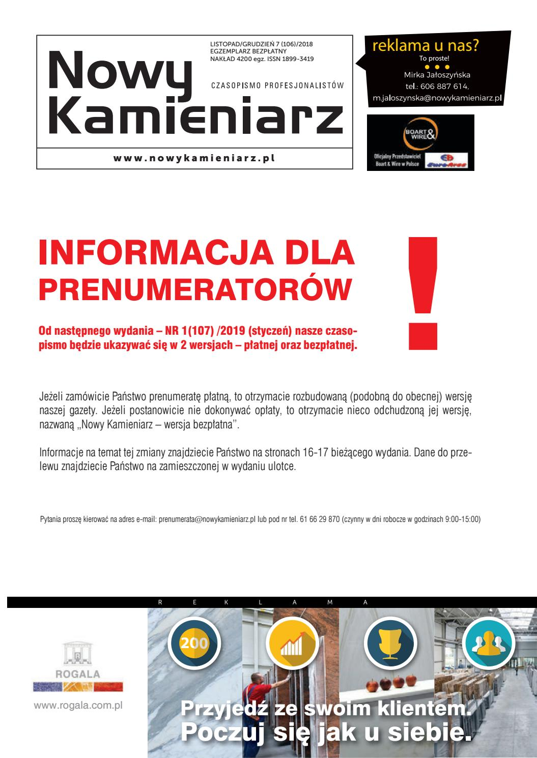 49fe32be0c86f3 Nowy Kamieniarz nr 106 (7/2018) by SVPR s.c. - issuu