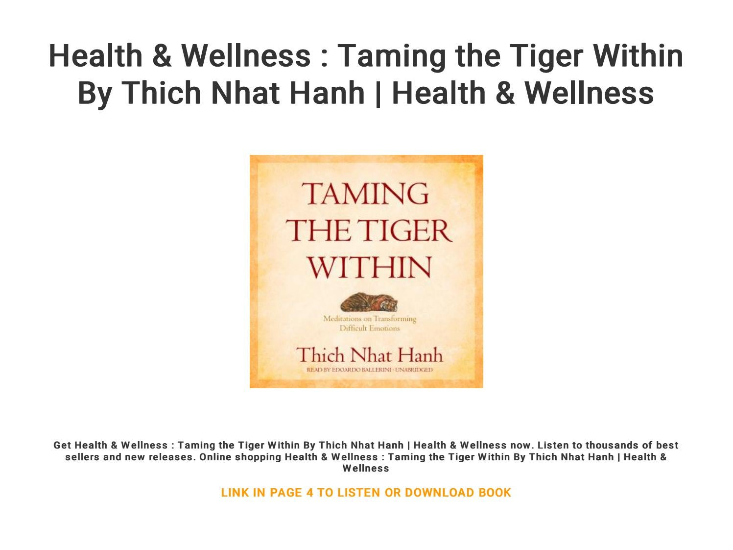 Health Wellness Taming The Tiger Within By Thich Nhat Hanh