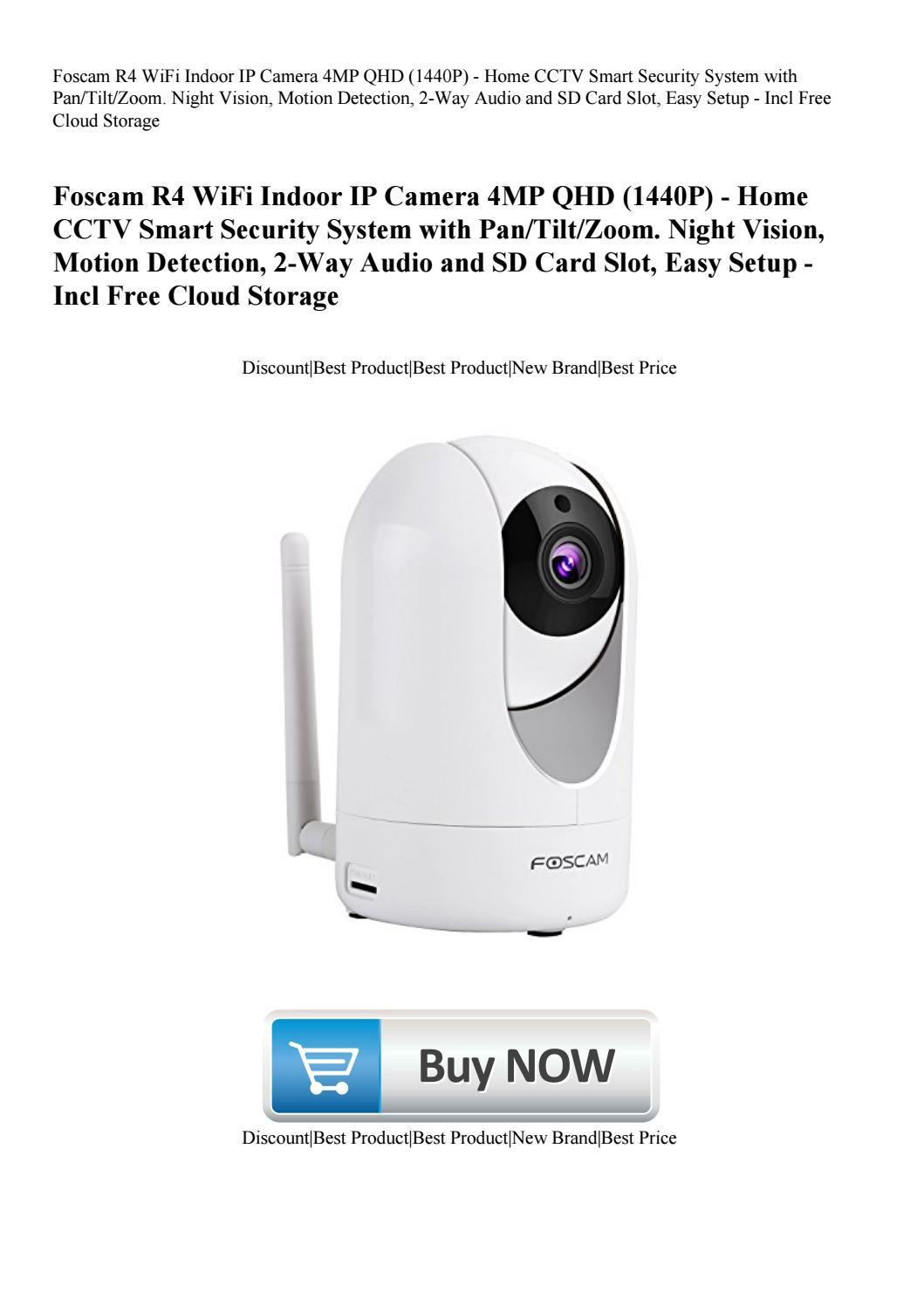 Foscam R4 WiFi Indoor IP Camera 4MP QHD (1440P) - Home CCTV