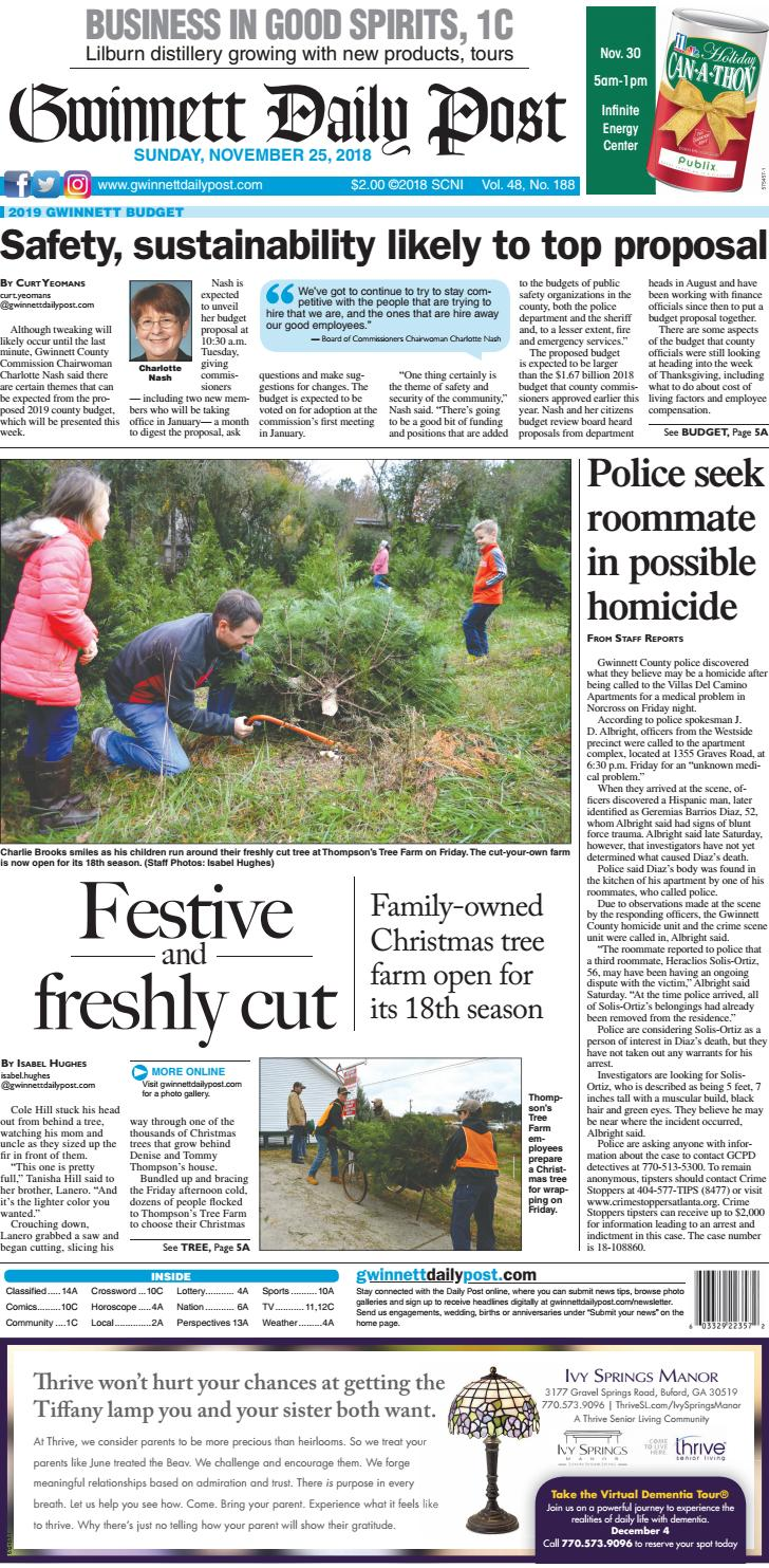 November 25, 2018 — Gwinnett Daily Post pdf by Gwinnett