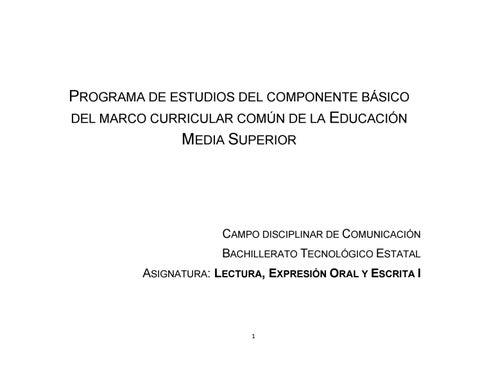 Programa De Estudios Leoye 1 Bachillerato Tecnológico By