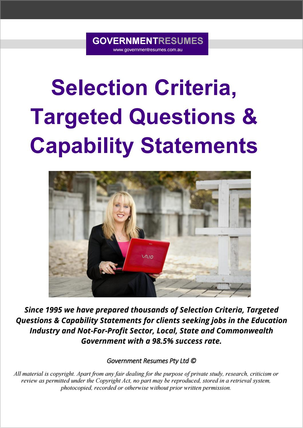 Government Resumes Selection Criteria Targeted Questions Capability Statements By 1300 Resume Issuu