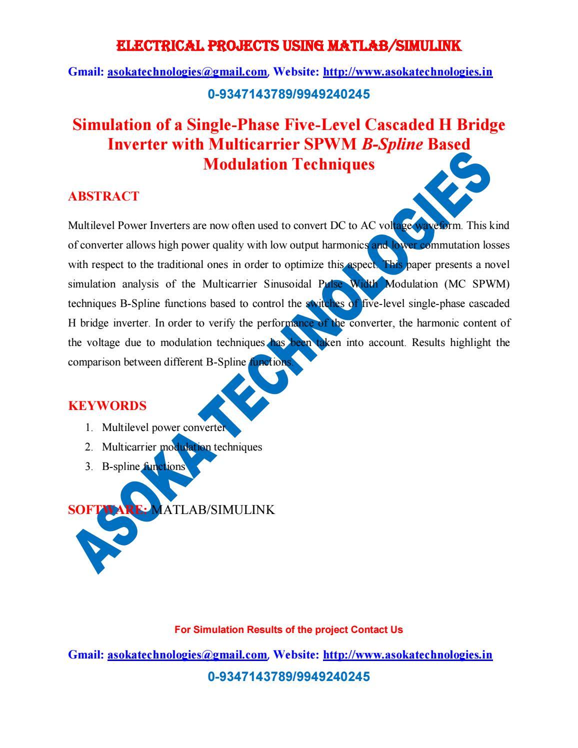 Simulation of a Single-Phase Five-Level Cascaded H Bridge Inverter
